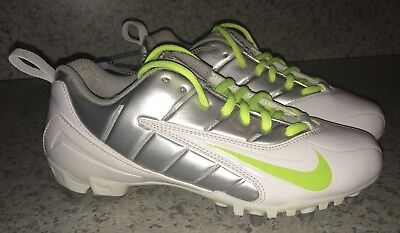 NEW Womens Sz 6 8 NIKE Speedlax III White Volt Silver Molded LAX Lacrosse Cleats