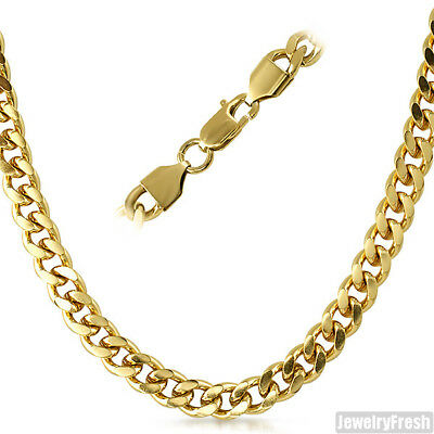 8mm 14K Gold IP Miami Cuban Chain Mens Necklace