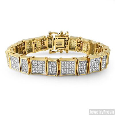 High End Kite Style Mens Gold Iced Out Cubic Zirconia Bracelet