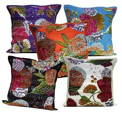 A Ethnic Indian Pillow Kantha Stitch Floral USA Cushion Cover