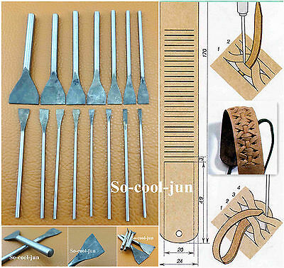 Leder Werkzeug 15pcs Leather Craft Slotted Straight Flat Tip Chisels Punch Tool