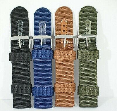 2 piece heavy duty woven nylon watch straps 18 20 22 24 Black Green Blue Brown