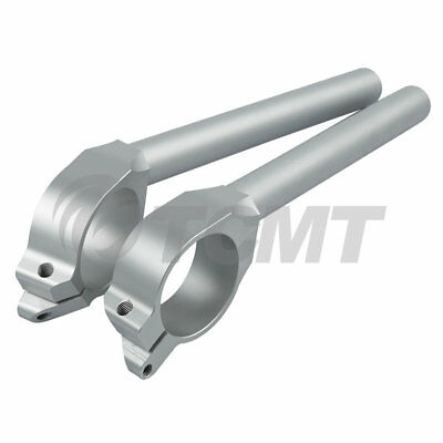 50mm Left&Right Handle Bar Clip On Silver For YAMAHA YZF R6 600 06-16 07 08 09