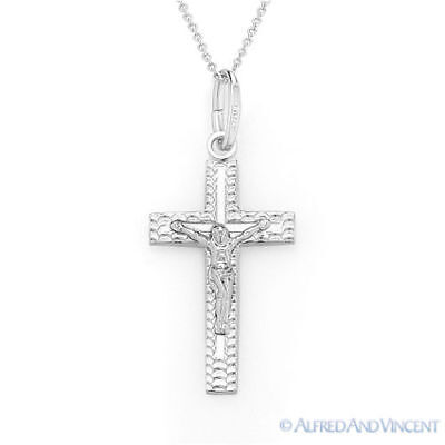 Cross Charm Jesus Pendant Christian Crucifix & Chain Necklace in Sterling Silver