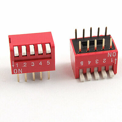 5 Pcs 2.54mm Pitch 5 Position Slide Type DIP Switch Red Xkzfb