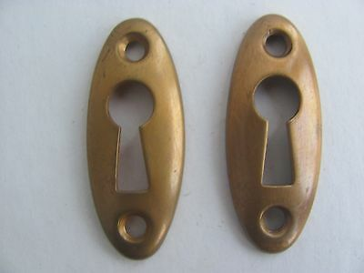 Lot of 2 Thin Antique Brass Key Hole Covers Antique Door Hardware NOS D