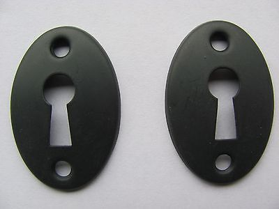 Lot of 2 Black Steel Key Hole Covers Door Hardware NOS H
