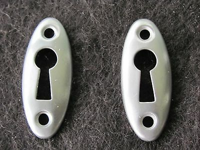 Lot of 2 Thin Matte Chrome Plated Brass Key Hole Covers Door Hardware NOS F