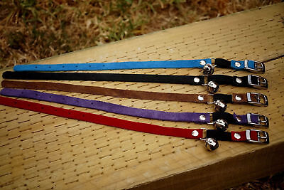 Cat Collar genuine suede soft leather BELL & Safety quick release elastic