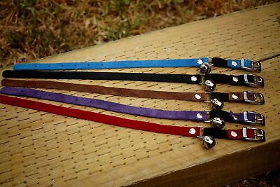 Cat Collars Suede Leather with BELL & Safety Quick release elastic