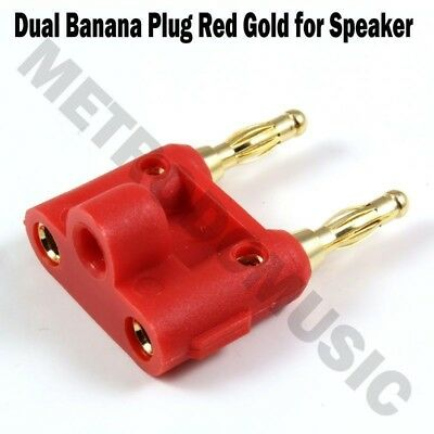 Dual Banana Plug Red Gold for Speaker DB Male Female Connector 2-way Stack