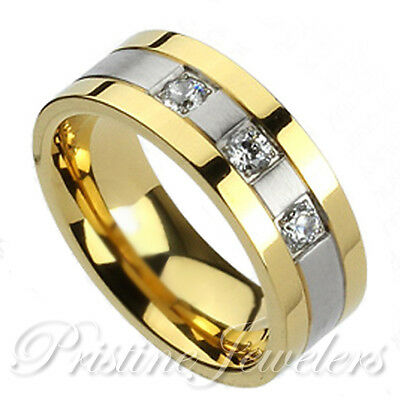 NEW Solid Titanium 3 CZ Gold & Silver Wedding Band Mens Jewelry Comfort Fit Ring