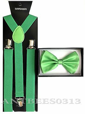 New Green SUSPENDER And BOW TIE Matching Set Tuxedo Classic Fashion Set