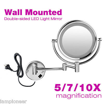 LED Light 2-Sided Bathroom Make Up Mirror Wall Mounted 10x 7x Magnifying Mirrors