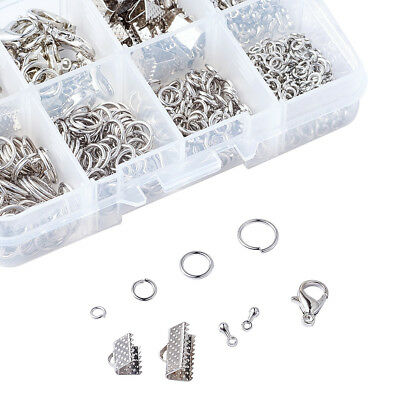 1Box  Assorted Jewelry Findings Lobster Claw Clasps Ribbon Ends Pieces Jump Ring