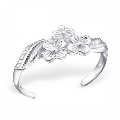 925 Sterling Silver 3 Flowers Toe Ring - Boxed