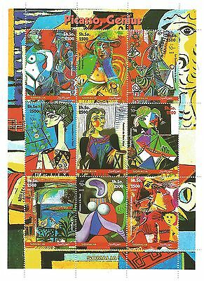 Somalia Stamps 2002 Pablo Picasso Cubist 9 stamp sheet / MNH