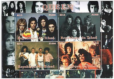 Chad Stamps 2014 Queen Band Souvenir Sheet 4 perforated / MNH
