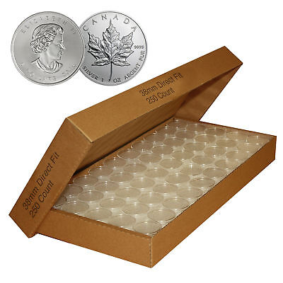 250 Direct-Fit Airtight 38mm Coin Capsules Holders For CANADIAN MAPLE LEAF 1 oz