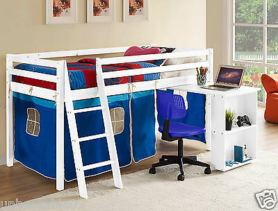 Kids Cabin Bed Mid Sleeper Wooden Pine Cabin Bed with Desk and Ladder