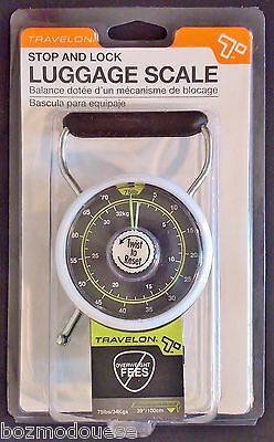 Travelon Stop and Lock Travel Luggage Scale 75 lbs/ 34kg w/tape measure 19325