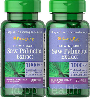 2X Puritan's Pride Saw Palmetto 1000 mg 90 softgels total 180 Softgels Prostate