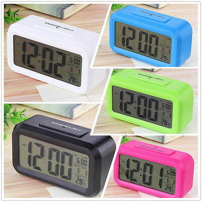 Snooze Electronic Digital Alarm Clock LED Backlight Light Control Thermomer FT