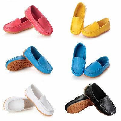 Candy Colors Girls Boys Slip on Faux Leather Moccasin Shoes Casual Slipper Sizes