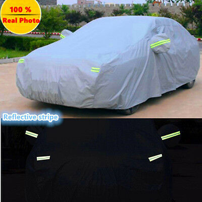 Double thicker waterproof auto car cover rain resistant heavy duty reflective