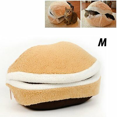 Shell Cat Hamburger Pet Sleeping Bed Kitty Burger Pillow Bed House - M