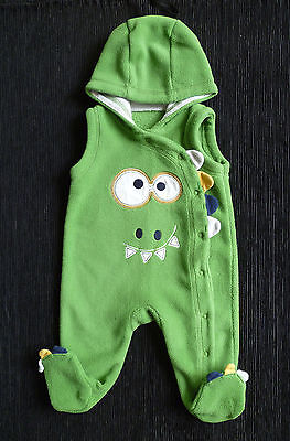 Baby clothes BOY 0-3m George fleece dinosaur green all-in-one hood SEE SHOP!