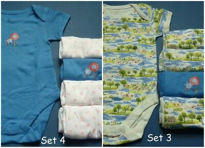 M&S 5 Pack Short Sleeve Bodysuits Vests Babygrows Baby Girls Size 6-9 Months
