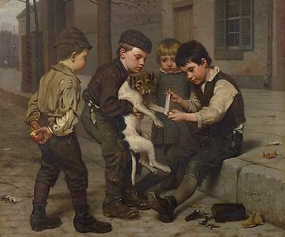 Custom Handmade Oil Painting repro John George Brown The Wounded Playfellow