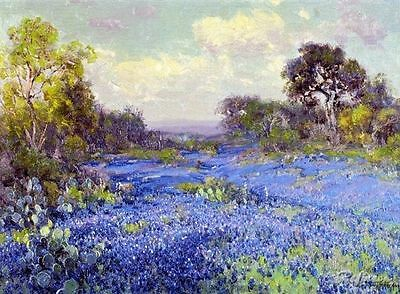 Custom Julian Onderdonk Oil Painting repro Blue Bonnets at Late Afternoon