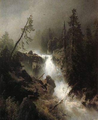 Handmade Herman Herzog Oil Painting repro Cascade with a Fisherman