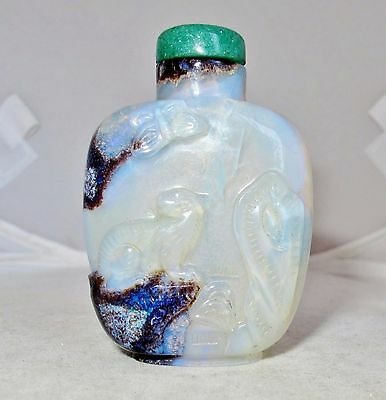 "2.25"" Chinese Carved OPAL Snuff Bottle with Tiger, Butterfly, Rocks & Green Top"