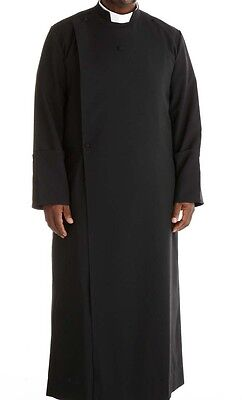 The New Double Breasted black Anglican cassock for clergy priest +fast shipping