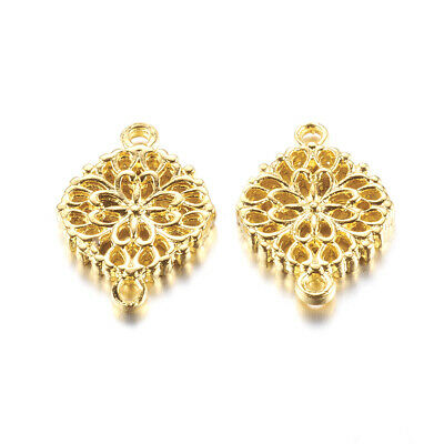 5pcs Fashion Golden Alloy Hollow Flower Links 1/1 Loop Connector Jewelry Charms