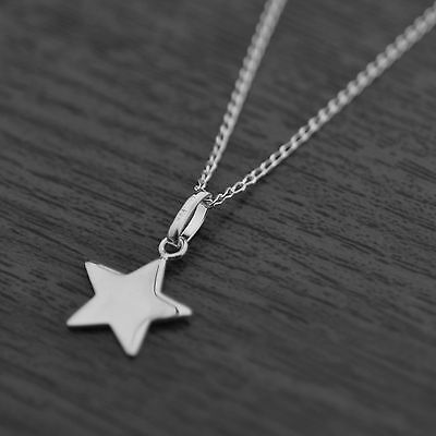 """Genuine 925 Sterling Silver Petite Star Pendant Chain Necklace 18"""" Inches / 45cm"""