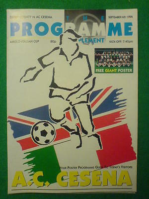 ANGLO ITALIAN CUP - Derby County v AC Cesena - 6 Sept 1994