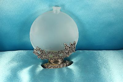 Romantic Baroque Inspired Frosted Glass Pewter Glass Oil Lamp..Rose Bush Detail