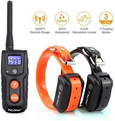 Waterproof Rechargeable Electric 2 Dog Remote Vibra & Shock Pet Training Collar