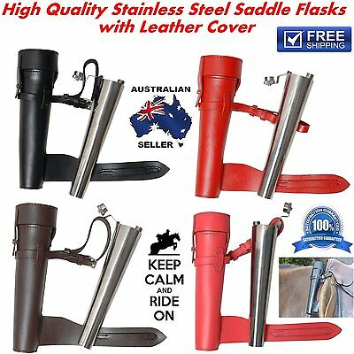 Leather case Horse Riding Saddle hip Stainless Steel Flask Baton Fox Hunting