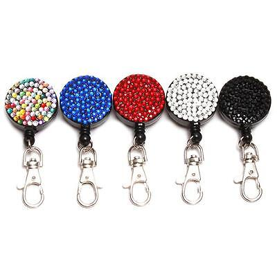 New Rhinestone Crystal Retractable Reel Cord for ID Card Badge Holder G