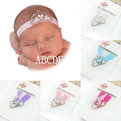 Cute Baby Kids Girl Infant Princess Pearl Crown Headband Hair Band Head Jewelry