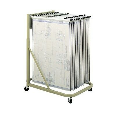 """SAFCO Engineering drawings rack (#5026) with 6x 36"""" hanging clamps (#50046)"""
