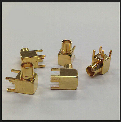 20PC Gold-plated 50ohm MCX female Right Angle Socket Copper RF COAXIAL PCB mount