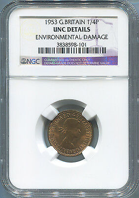 1953 Great Britain Farthing, 1/4 Penny, NGC UNC Details.