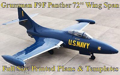 """Grumman F9F Panther 72"""" WS Giant Scale RC Airplane PRINTED Plans & Templates"""