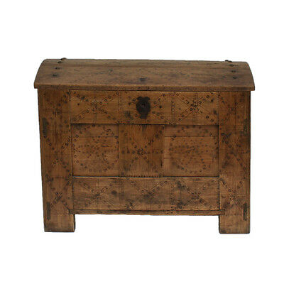 Large 19th Century Continental Domed Pine Trunk. Great Antique Storage.
